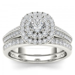 White Gold 7/8ct TDW Diamond Double Halo Engagement Ring Set with One Band - Custom Made By Yaffie™