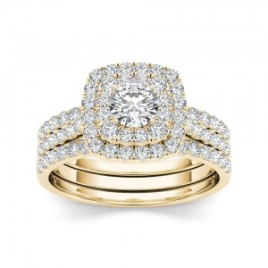 Gold 1 1/2 ct TDW Diamond Halo Engagement Ring Set - Custom Made By Yaffie™