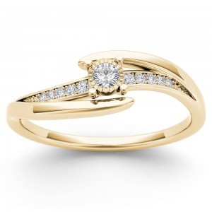 Gold 1/10ct TDW Diamond Classic Bypass Engagement Ring - Custom Made By Yaffie™