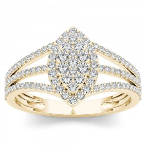 Gold 1/2ct TDW Diamond Marquise-Framed Cluster Engagement Ring - Custom Made By Yaffie™