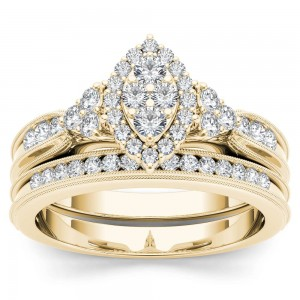 Gold 1/2ct TDW Diamond Marquise-Framed Halo Engagement Ring Set - Custom Made By Yaffie™