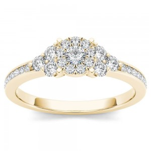 Gold 1/2ct TDW Diamond Three-Stone Look Halo Engagement Ring - Custom Made By Yaffie™