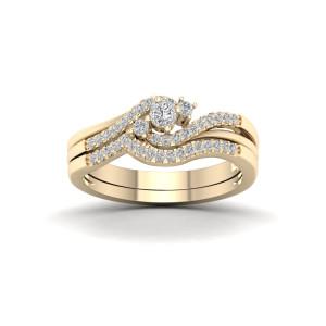 Gold 1/3ct TDW Diamond Bypass Bridal Set - Custom Made By Yaffie™