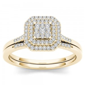 Gold 1/4ct TDW Diamond Cluster Halo Bridal Set - Custom Made By Yaffie™