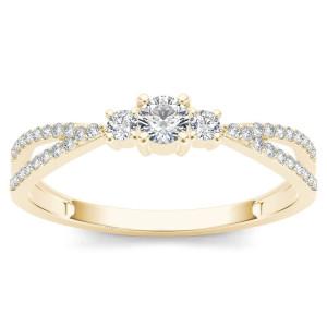 Gold 1/4ct TDW Diamond Three-Stone Anniversary Ring - Custom Made By Yaffie™