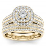 Gold 1ct TDW Diamond Double Engagement Ring with One Band - Custom Made By Yaffie™