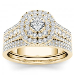Gold 1ct TDW Diamond Double Halo Engagement Ring Set with One Band - Custom Made By Yaffie™