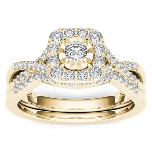 Gold 2/5ct TDW Diamond Halo Engagement Ring Set with One Band - Custom Made By Yaffie™