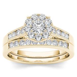 Gold 3/4ct TDW Diamond Bridal Ring Set - Custom Made By Yaffie™