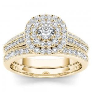 Gold 7/8ct TDW Diamond Double Halo Engagement Ring Set with One Band - Custom Made By Yaffie™