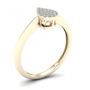 1/10ct TDW Diamond Pear Shape Cluster Engagement Ring - Custom Made By Yaffie™