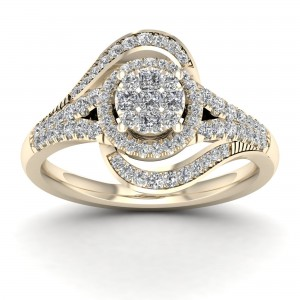 1/2ct TDW Diamond Cluster Engagement Ring - Custom Made By Yaffie™