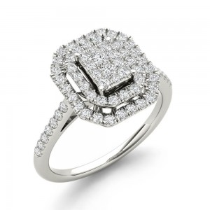 1/2ct TDW Diamond Cluster Halo Engagement Ring - Custom Made By Yaffie™