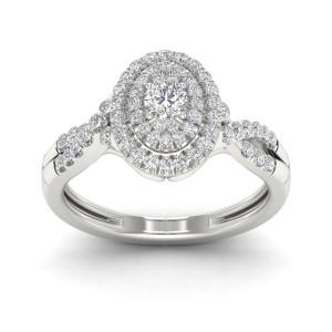 1/2ct TDW Diamond Oval Shape Halo Engagement Ring - Custom Made By Yaffie™