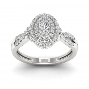 1/2ct TDW Diamond Oval Shape Halo Engagement Ring - Custom Made By Yaffie™