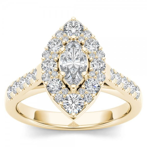 c740d94bba7cb Gold 1 1/2ct TDW Marquise Shape Diamond Halo Engagement Ring - Custom Made  By Yaffie™