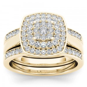 Gold 1/3ct TDW Diamond Cluster Halo Ring - Custom Made By Yaffie™