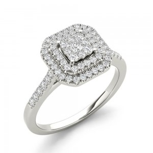 1/4ct TDW Diamond Double Halo Engagement Ring - Custom Made By Yaffie™