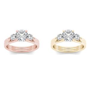 Gold 1 1/2ct TDW Diamond Three-Stone Anniversary Ring - Custom Made By Yaffie™