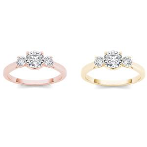 Gold 1ct TDW Diamond Three-Stone Anniversary Ring - Custom Made By Yaffie™
