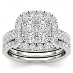 Gold 2ct TDW Diamond Halo Engagement Ring Set with Two Bands - Custom Made By Yaffie™