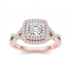 Rose Gold 1 1/10ct TDW Diamond Double Halo Criss-cross Shank Engagement Ring - Custom Made By Yaffie™