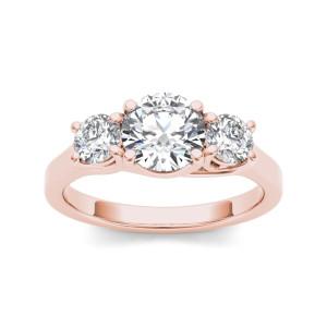 Rose Gold 1 1/2ct TDW Diamond Three-Stone Anniversary Ring - Custom Made By Yaffie™
