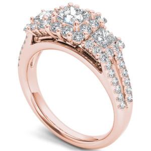 Rose Gold 1 1/2ct TDW Diamond Three-Stone Halo Engagement Ring - Custom Made By Yaffie™
