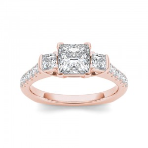 Rose Gold 1 1/2ct TDW Diamond Three-stone Princess-cut Engagement Ring - Custom Made By Yaffie™