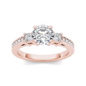 Rose Gold 1 1/3ct TDW Diamond Three-Stone Anniversary Ring - Custom Made By Yaffie™