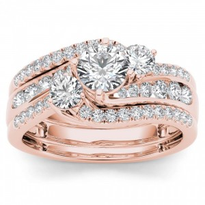 Rose Gold 1 1/4ct TDW Diamond Bypass Bridal Ring Set - Custom Made By Yaffie™