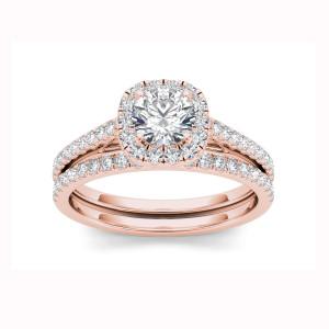 Rose Gold 1 1/4ct TDW Diamond Criss-Cross Shank Bridal Ring - Custom Made By Yaffie™