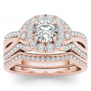 Rose Gold 1 1/4ct TDW Diamond Halo Engagement Ring Set with One Band - Custom Made By Yaffie™