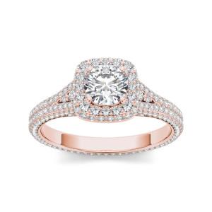 Rose Gold 1 1/4ct TDW Diamond Split-Shank Halo Engagement Ring - Custom Made By Yaffie™