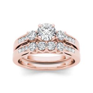 Rose Gold 1 1/4ct TDW Diamond Three-Stone Engagement Ring Set - Custom Made By Yaffie™
