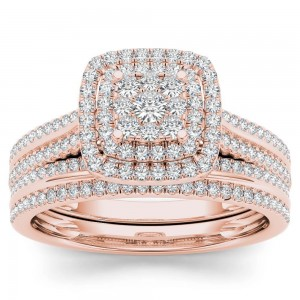 Rose Gold 1/2ct TDW Diamond Cluster Halo Bridal Set - Custom Made By Yaffie™