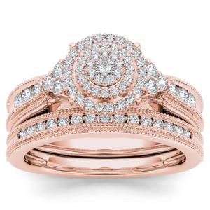 Rose Gold 1/2ct TDW Diamond Cluster Halo Bridal Set - Custom Made By Yaffie™