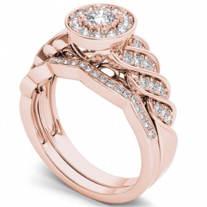 Rose Gold 1/2ct TDW Halo Bridal Set - Custom Made By Yaffie™
