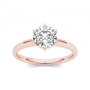 Rose Gold 1ct TDW Diamond Classic Engagement Ring - Custom Made By Yaffie™