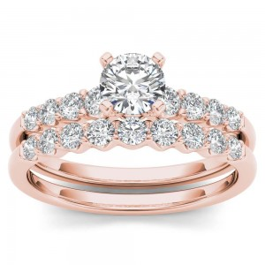 Rose Gold 1ct TDW Diamond Classic Engagement Ring Set with One Band - Custom Made By Yaffie™