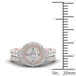 Rose Gold 1ct TDW Diamond Cluster Halo Bridal Set - Custom Made By Yaffie™