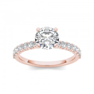 Rose Gold 1ct TDW Diamond Engagement Ring - Custom Made By Yaffie™