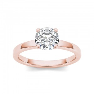 Rose Gold 1ct TDW Diamond Equanimous Engagement Ring - Custom Made By Yaffie™