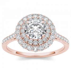Rose Gold 1ct TDW Diamond Halo Engagement Ring - Custom Made By Yaffie™