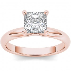 Rose Gold 1ct TDW Diamond Princess-cut Solitaire Engagement Ring - Custom Made By Yaffie™