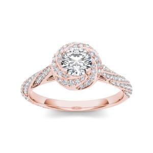 Rose Gold 1ct TDW Diamond Swirl Engagement Ring - Custom Made By Yaffie™