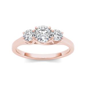 Rose Gold 1ct TDW Diamond Three-Stone Anniversary Ring - Custom Made By Yaffie™