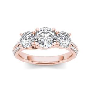 Rose Gold 2 1/4ct TDW Diamond Three-Stone Anniversary Ring - Custom Made By Yaffie™