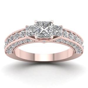 Rose Gold 2 2/5ct TDW Diamond Princess-cut Three-stone Ring - Custom Made By Yaffie™