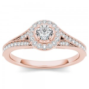 Rose Gold 5/8ct TDW Diamond Halo Engagement Ring - Custom Made By Yaffie™